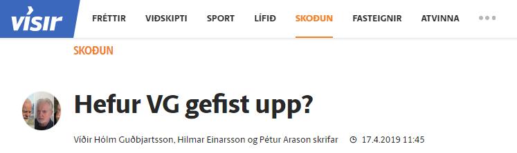 """""""Hefur VG gefist upp?"""" Grein Víðirs Hólm Guðbjartssonar, Hilmars Einarssonar og Péturs Arasonar"""