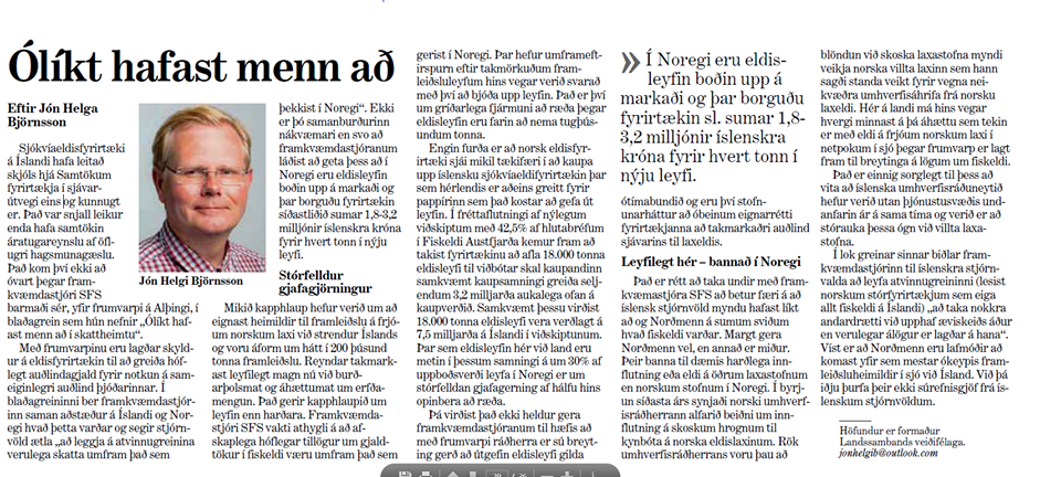 """""""Ólíkt hafast menn að"""" – Grein Jóns Helga Björnssonar"""