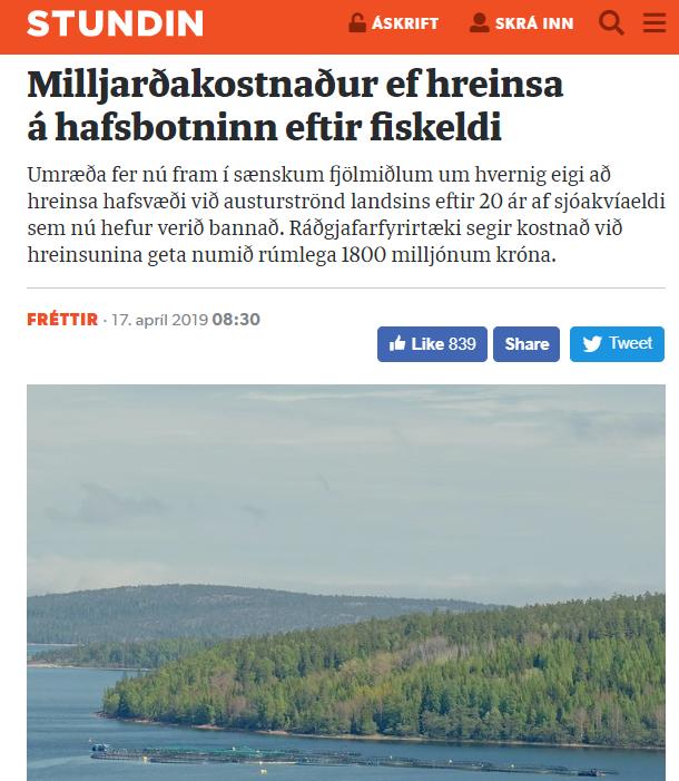Milljarðakostnaður af því að hreinsa hafsbotninn eftir sjókvíaeldi